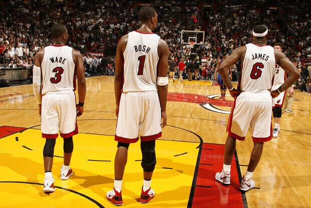Dwyane Wade, Chris Bosh y LeBron James (Miami Heat)./ Getty Images