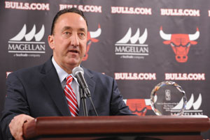 Gar Farman, General Manager de los Bulls, ayer, durante la conferencia de prensa en la que recibió el galardón. / Getty Images
