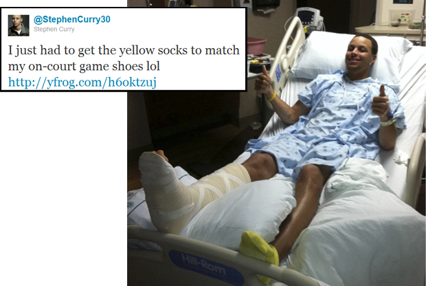 Stephen Curry, base de Golden State Warriors, tras ser operado