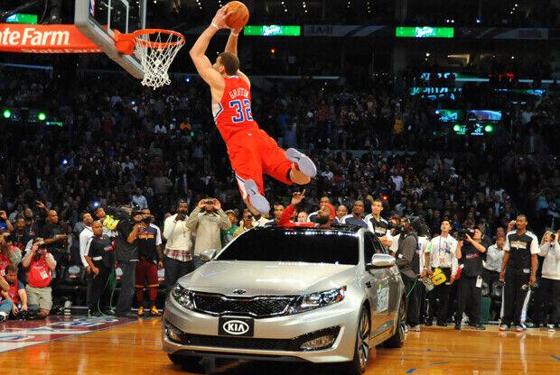 Blake Griffin en uno de sus mates del Sprite Slam Dunk Contest de 2011./ Getty Images