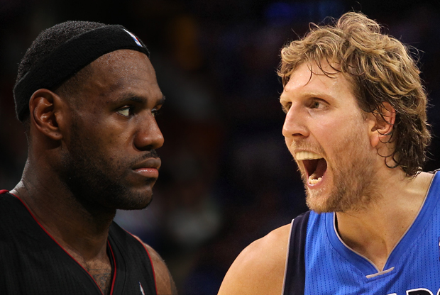 Lebron James y Dirk Nowittzki, frente a frente en las Finales 2011./ Getty Images