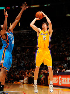 Adam Morrison, con la camiseta de los Lakers./Getty