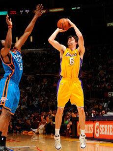 Adam Morrison, con la camiseta de los Lakers./Getty