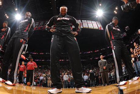 El 'Big Three' de Miami, antes de un partido./Getty