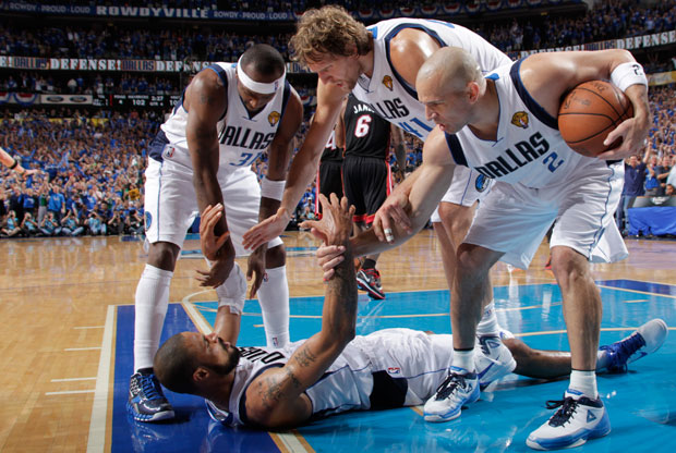 Nowitzki, Kidd, Terry y Chandler, a un paso del anillo./Getty