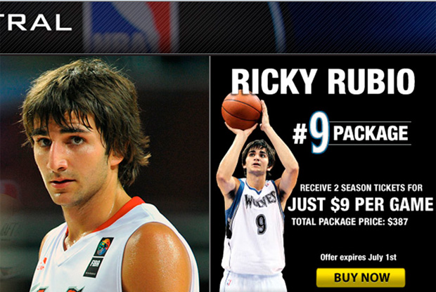 Ricky Rubio, con la camiseta de los Timberwolves en la portada de la web de la franquicia./ WEB Timberwolves