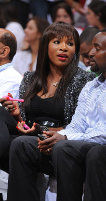 Serena Williams, siguiendo el primer partido de las Finales./Getty