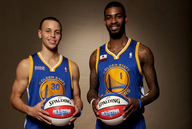 Stephen Curry y Dorrell Wright (Golden State Warriors)./ Getty Images