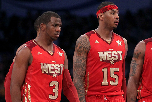Chris Paul y Carmelo Anthony durante el 2011 NBA All-Star Game./ Getty Images