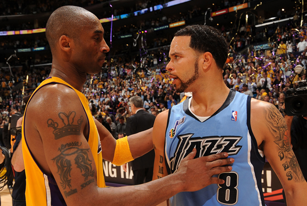 Kobe Bryant (Los Angeles Lakers) y Deron Williams (en su anterior etapa con Utah Jazz)./ Getty Images