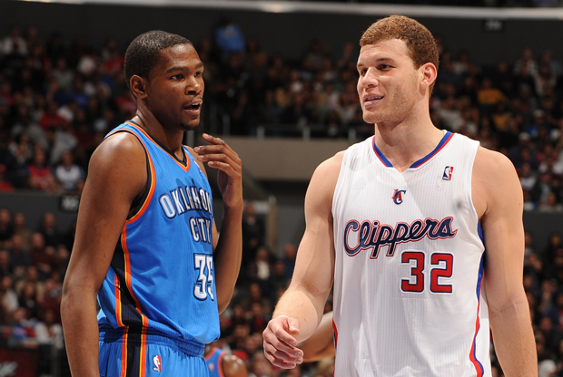 Kevin Durant (Oklahoma City Thunder) y Blake Griffin (Los Angeles Clippers)./ Getty Images
