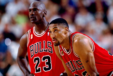 Scottie Pippen y Michael Jordan./Getty
