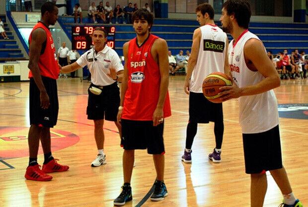 Ricky Rubio, durante un entrenamiento de la Selección, en Madrid./Foto FEB