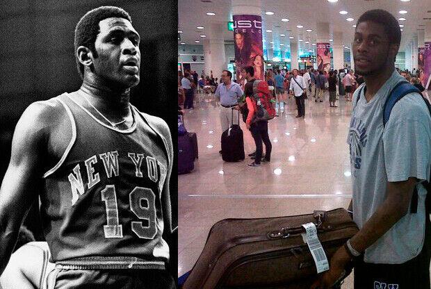 Imagen de Reed padre (con la camiseta de los Knicks) y su hijo a la llegada a Barcelona./ Getty y cbsantjosepgirona