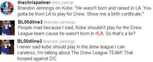 Twitter de ESPN y Brandon Jennings
