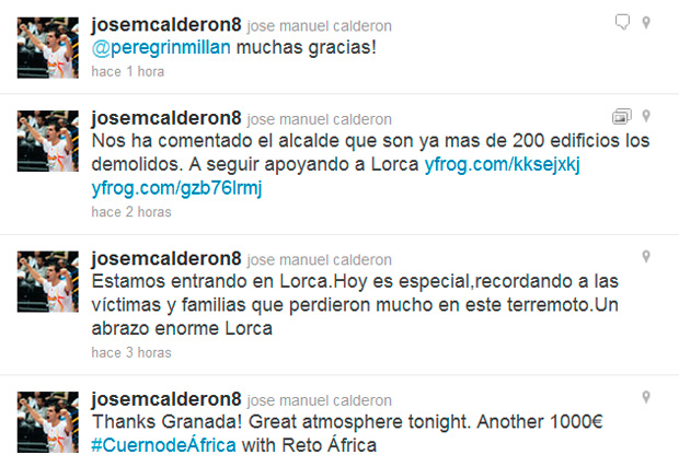 Mensajes de Calderón en su cuenta de twitter