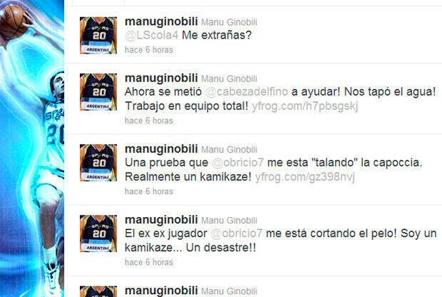 Mensajes en el twitter de Manu Ginóbili