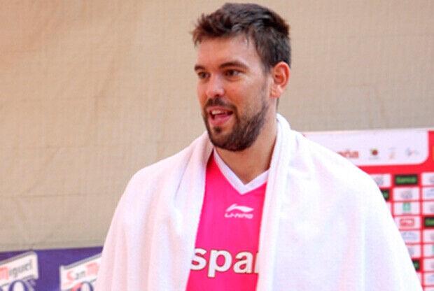 Marc Gasol, durante un entrenamiento de la selección, en Madrid./ Foto FEB
