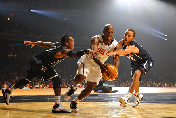 Rajon Rondo, Chauncey Billups y Stephen Curry./ Getty Images