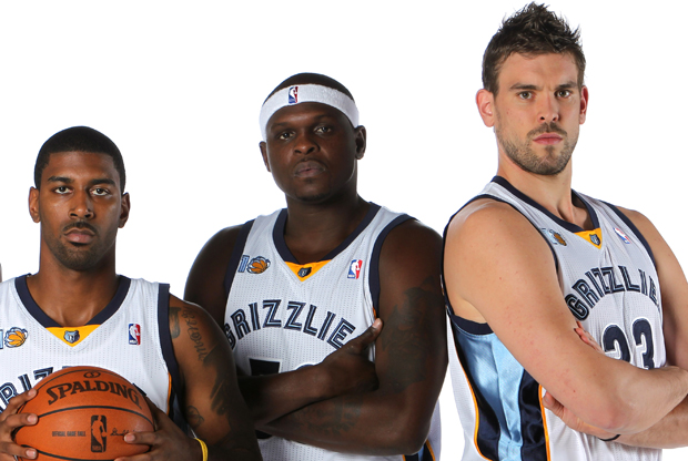 O.J. Mayo #32, Zach Randolph #50 y Marc Gasol #33 (Memphis Grizzlies)./ Getty Images