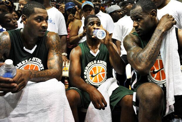 Carmelo Anthony, Chris Paul y LeBron James (Melo League)./ Getty Images