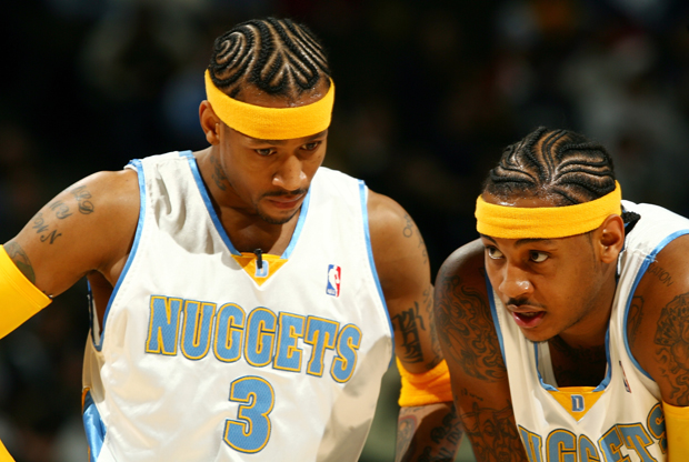 Allen Iverson y Carmelo Anthony (Denver Nuggets)./ Getty Images