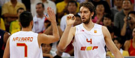 Juan Carlos Navarro y Pau Gasol./ Getty Images