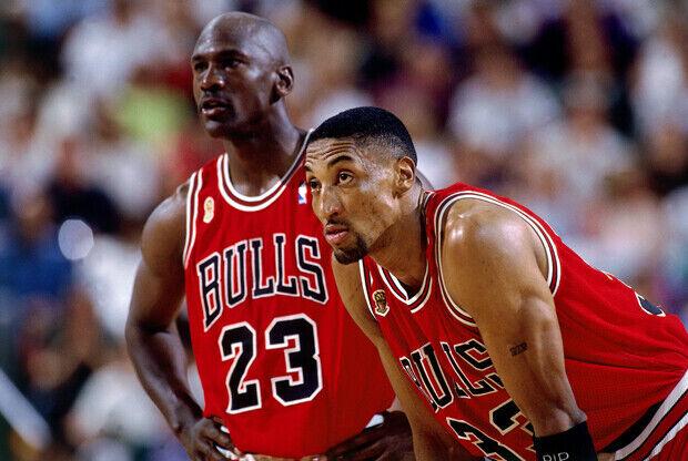 Michael Jordan y Scottie Pippen (Chicago Bulls)./ Getty Images