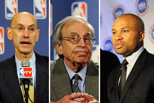 Adam Silver, George Cohen y Derek Fisher./ Getty Images