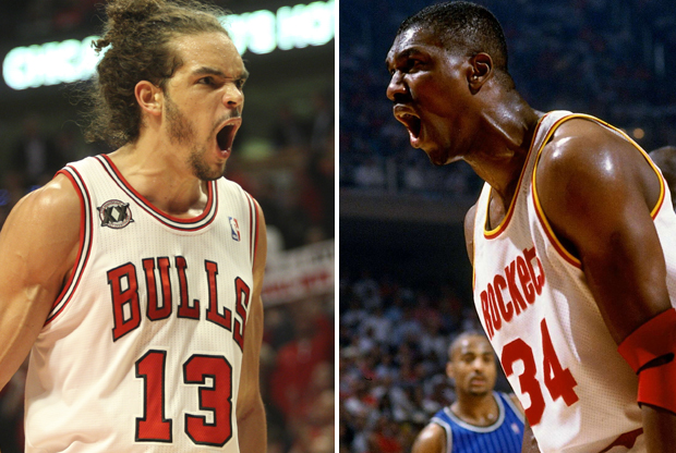 Joakim Noah y Hakeem Olajuwon./ Getty Images
