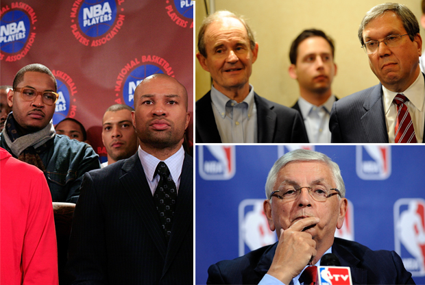 Carmelo Anthony, Derek Fisher, Davis Boies, Jeffrey Kessler y David Stern./ Getty Images