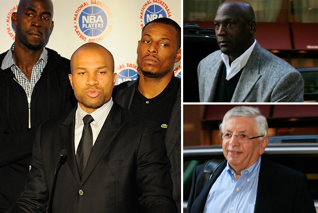 Derek Fisher, Michael Jordan y David Stern./ Getty Images