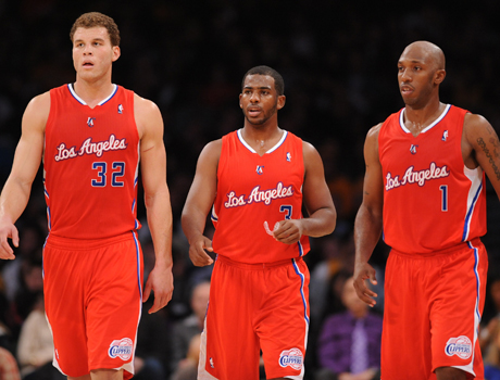 Blake Griffin #32, Chris Paul #3 y Chauncey Billups #1./ Getty Images