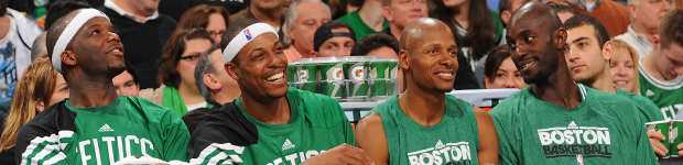 Jermaine O'Neal, Paul Pierce, Ray Allen y Kevin Garnett./ Getty Images