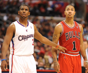 Chris Paul y Derrick Rose./ Getty Images