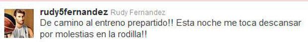 Mensaje en twitter de Rudy Fernández