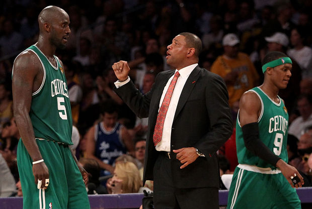 Doc Rivers, Kevin Garnett y Rajon Rondo./ Getty Images
