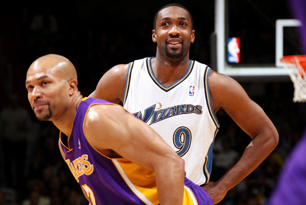 Gilbert Arenas y Derek Fisher./ Getty Images