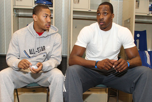 Derrick Rose y Dwight Howard./ Getty Images