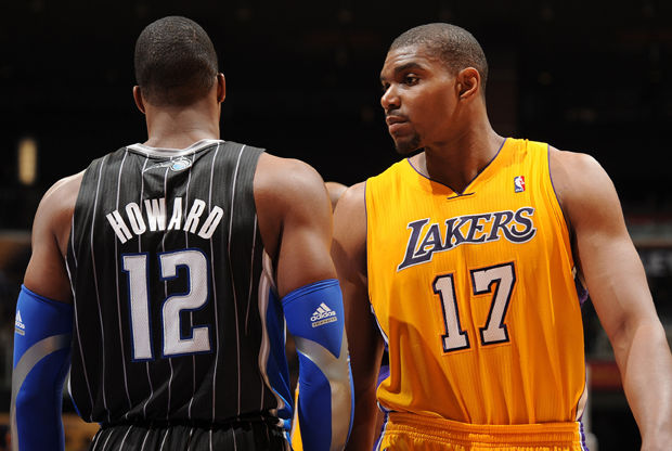 Dwight Howard y Andrew Bynum./ Getty Images