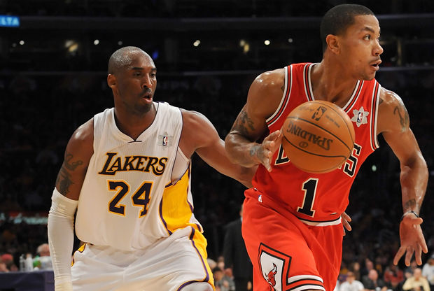 Derrick Rose y Kobe Bryant./ Getty Images