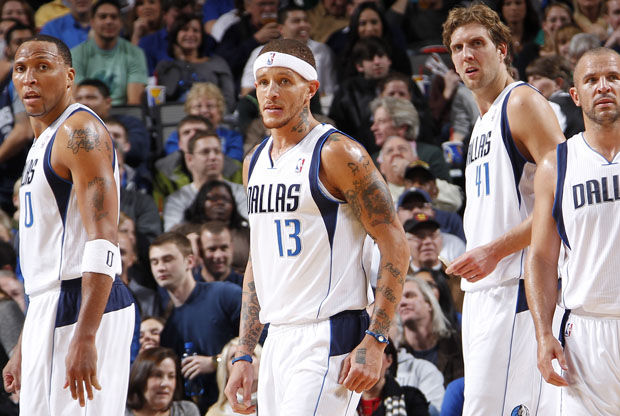 Shawn Marion #0, Delonte West #13, Dirk Nowitzki #41 y Jason Kidd #2./ Getty Images