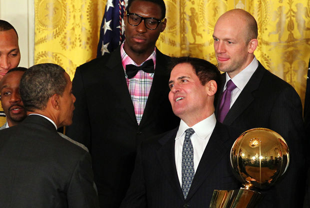 Barack Obama, Mark Cuban, Brian Cardinal e Ian Mahinmi./ Getty Images