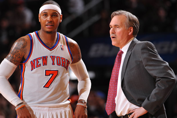 Carmelo Anthony y Mike D'Antoni./ Getty Images