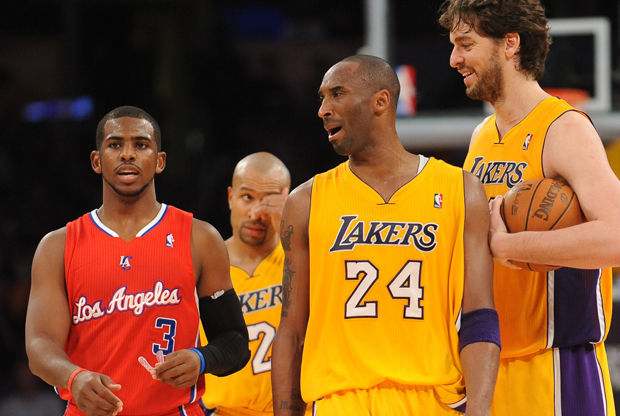 Chris Paul, Kobe Bryant y Pau Gasol./ Getty Images