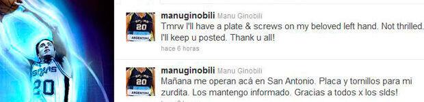 Mensaje de Manu Ginóbili en su cuenta en Twitter./ Getty