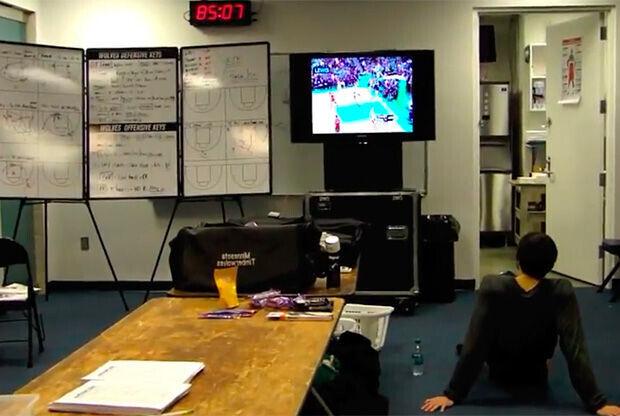 Ricky, en los vestuarios de los Wizards momentos antes del partido en Washington