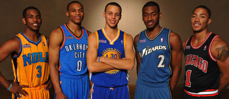 Chris Paul #3 of the New Hornets, Russell Westbrook #0 of the Oklahoma City Thunder, Stephen Curry #30 of the Golden State Warriors, John Wall #2 of the Washington Wizards and Derrick Rose of the Chicago Bulls./ Getty Images