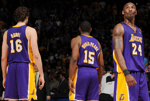 Kobe Bryant, Pau Gasol y Metta World Peace./ Getty Images