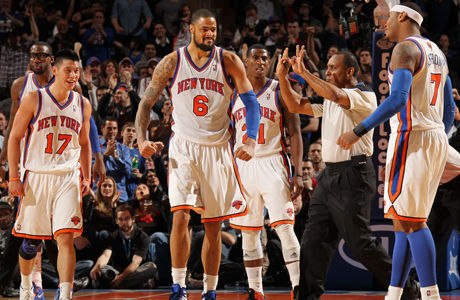 Amare Stoudemire #1, Jeremy Lin #17, Tyson Chandler #6, Iman Shumpert #21 y Carmelo Anthony #7./ Getty Images